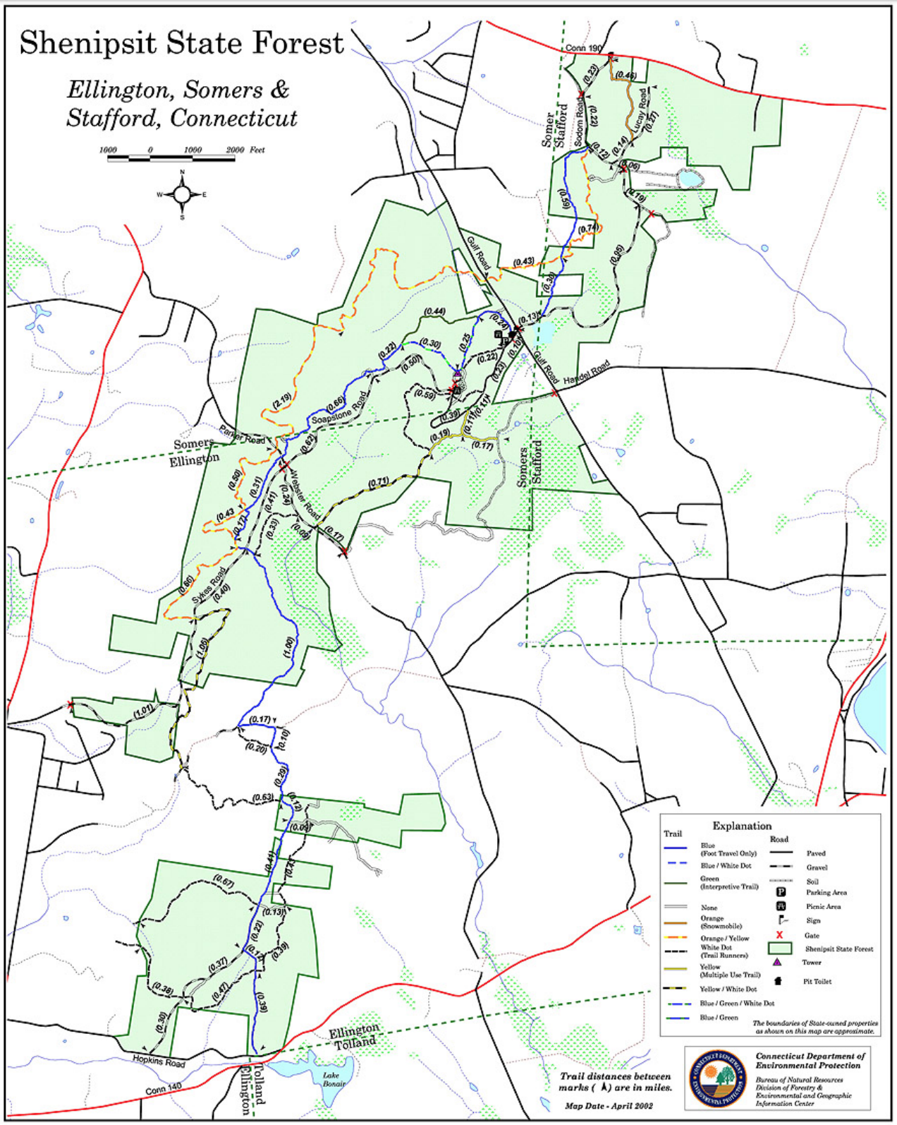 Shenipsit State Forest Trail Map