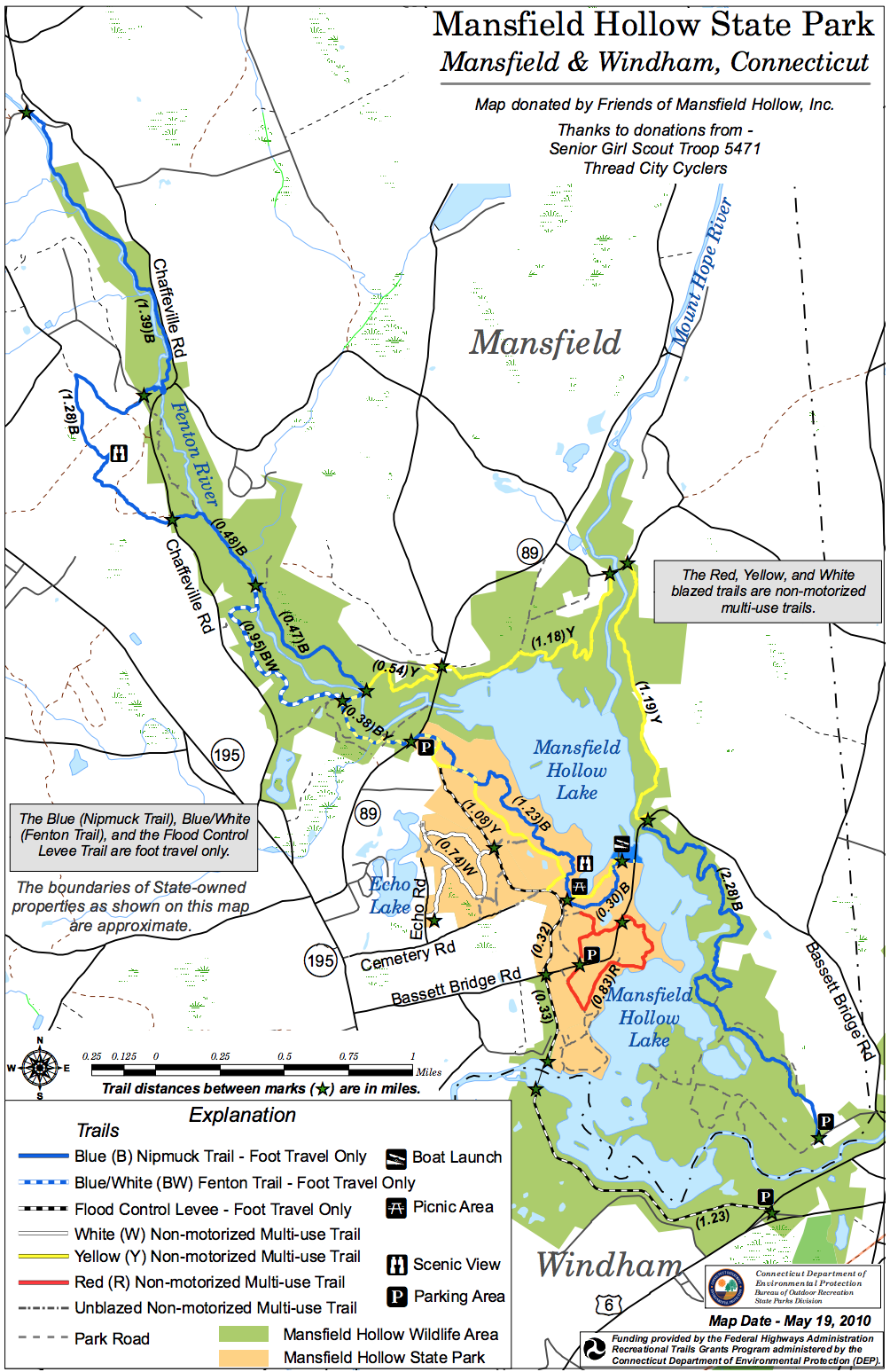 Mansfield Hollow Trail Map
