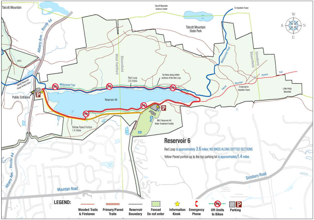 West Hartford Reservoir #6 Trail Map