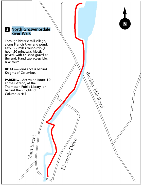 North Grosvenordale River Walk Trail Map