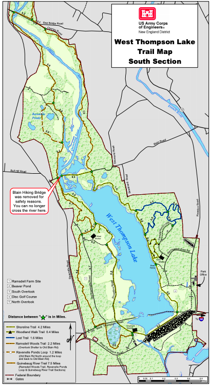 West Thompson Dam Trail Map